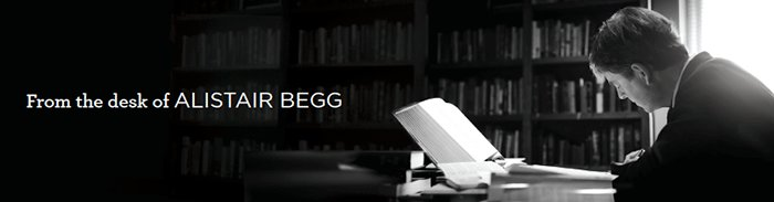 Alistair Begg at desk